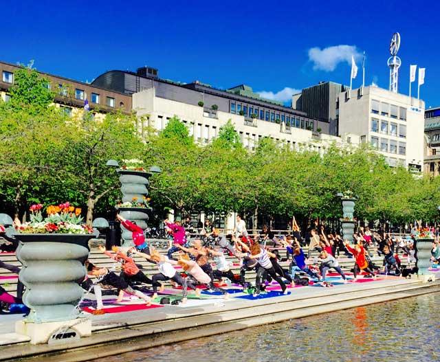 Yogobe samlade 200 yogisar i Stockholm