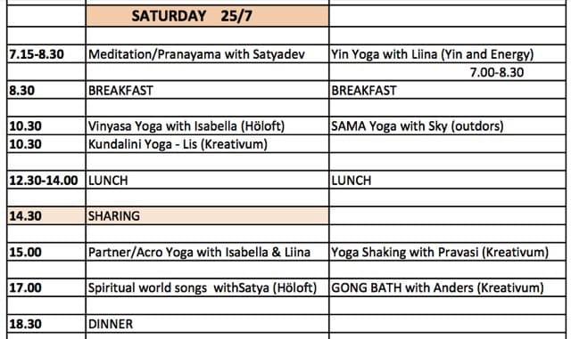 Yoga Celebration - schemat för lördagens yoga