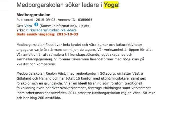 Medborgarskolan söker yogainstruktörer